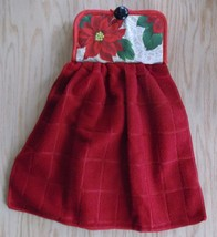 handcrafted kitchen towel oven door potholder poinsettia red Christmas h... - $10.00