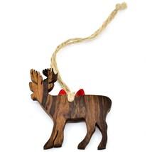 Hand Carved Ironwood Wood Folk Art Deer Silhouette Christmas Ornament image 2