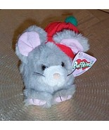 "Puffkins Ltd Christmas Plush 5"" Gray Mouse NUTMEG Wears Red Cap - $7.89"