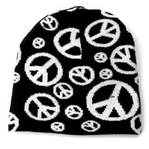 NEW PUNK WINTER ACRYLIC KNIT HAT SKI CAP ~ BLACK WHITE PEACE SIGNS BEANI... - $5.96 CAD