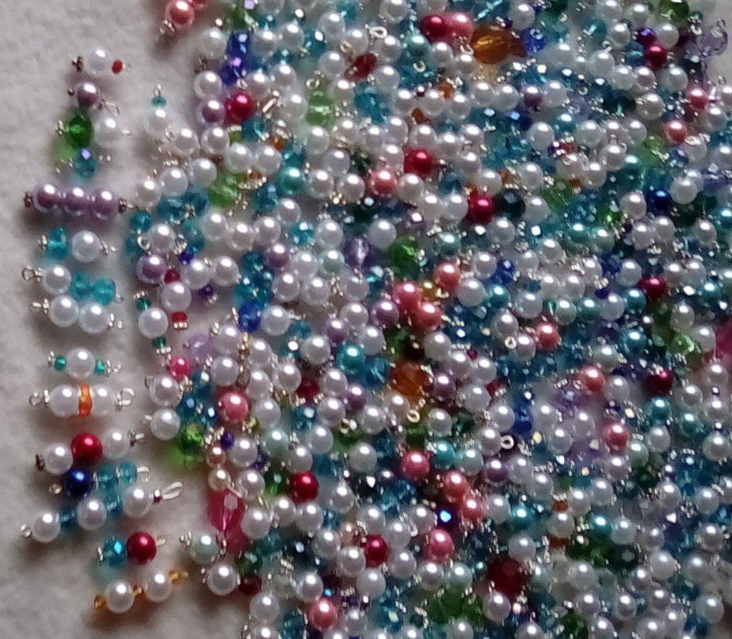 100pc. Mix Beads-Swarovski Crystal,Pearl,Lucite Acrylic Beads,Ponytail Beads-Tea