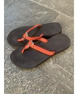 Guess Sandals Thong Flip Flops Small Orange Gold - $18.69