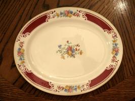 "Homer Laughlin Lady Alice Red Floral Platter Gold Trim 11 3/4"" VG Rare V... - £28.45 GBP"