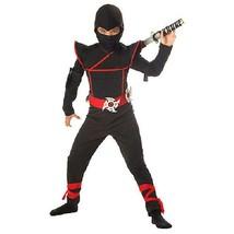 Kids Stealth Ninja Costume Cosplay Dress Up Red Black Medium with Ninja ... - $16.82