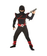 Kids Stealth Ninja Costume Cosplay Dress Up Red Black Medium with Ninja ... - $16.82