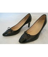 CHANEL Black Leather Classic Pumps with Patent Leather Cap Toe and Bow -... - $319.99