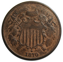 1870 Two 2 Cent Coin Piece Lot # MZ 3820