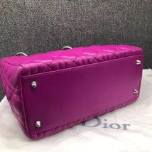AUTH Christian Dior Lady Dior Medium Fuchsia Pink Cannage Lambskin Tote Bag SHW image 3