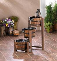 10017256 SHIPS FREE Cascading Fountains Rustic Apple Barrel Fountain - $116.64