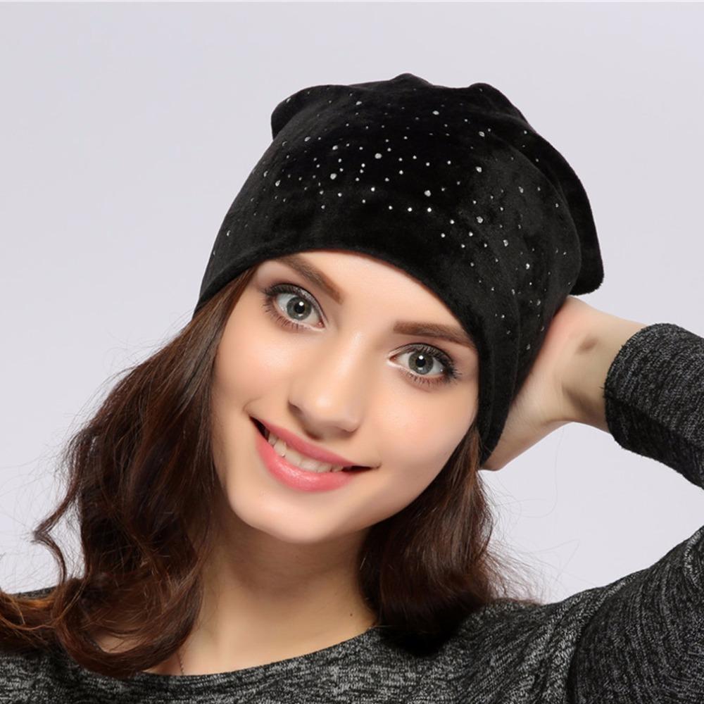 195f7e83468fa Ur beanie hat spring polyester shine diamond rhinestones slouchy beanies  for women balaclava 153