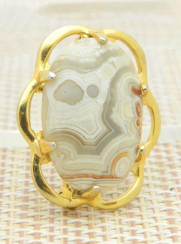 Gray Tan White Orange Agate Oval Gold Tone Pin Brooch Vintage