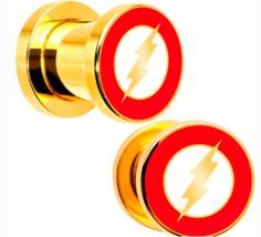 DC Comics,The Flash Logo 0 Gauge, 8mm Screw Fit Plug Set, Gold Plated Steel