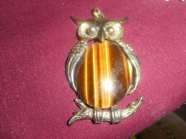 Vintage Costume Large Gold Tone Owl Pendant W Large Tiger's Eye Polished... - $29.81