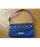 Michael Kors Leather Studded Small Purse Blue Handbag Wristlet Bag Clutch - $24.99
