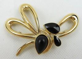 Vintage Fashion Jewelry Lady Flower Black Drop Trifari Brooch Retro Gold Color - $25.00
