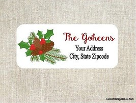 Christmas Holiday Return Address Labels Personalized - $4.95