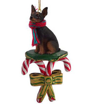 MINIATURE PINSCHER MIN PIN BLACK DOG CANDY CANE CHRISTMAS ORNAMENT HOLID... - $14.99