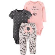 Carters NB 3 6 9 12 18 24 Months Elephant Bodysuit Pants Set Baby Girl Clothes - $22.00