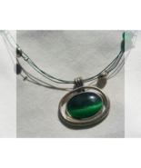 Forest green tiger eye floating necklace - $11.00