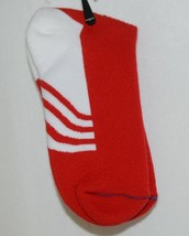 Unbranded Red White Adult Crew Socks Right Left Marked Bottom with R L image 1