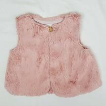 Gymboree Girls Vest 18/24M Woodland Weekend Pink Faux Fur Gold Button Furry  - $14.99