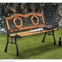 NEW Outdoor Garden Bench Park Lawn Wooden Patio Furniture Iron Swans Gra... - $168.29