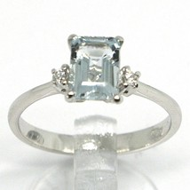 18K WHITE GOLD BAND RING AQUAMARINE 0.80 EMERALD CUT & DIAMONDS, MADE IN ITALY image 2