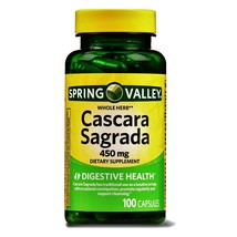 Spring Valley Whole Herb Cascara Sagrada Digestive Health 450mg 100 Capsules - $15.80