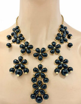 Black Flowers Bib Statement Necklace & Earrings Long or Short Wearable A... - $13.56