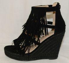 BF Betani Shiloh 8 Black Fringe Wedge Heel Sandals Size 5 And Half image 4