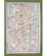 GERMANY Weimar City Plan & Environs - 1904 MAP ORIGINAL Baedeker for Gen... - $3.72