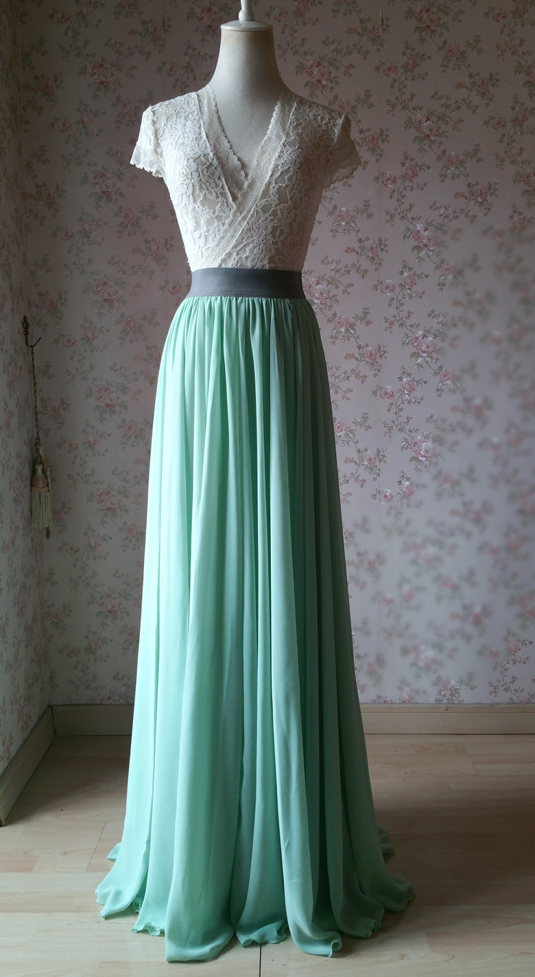 Sage green chiffon maxi skirt 3 780