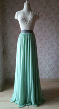 MINT GREEN Maxi Chiffon Skirts Mint Green Wedding Chiffon Skirt Plus Size image 5