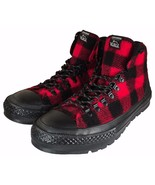 Converse Woolrich Chuck Taylor Street Hiker Sneaker Boot Red Black Plaid 153833C - $60.00