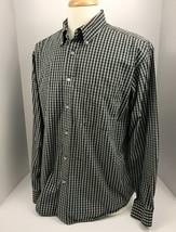 IZOD 80's 2 Ply Cotton Men's Long Sleeve Button Down Shirt Green Check L... - $11.77