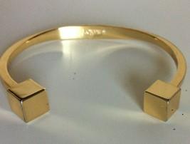 J.Crew Women Modern Open Cuff Bracelet Cube Gold Tone Jewelry - $14.84