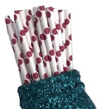 """7.75"""" red JUMBO polka dot print paper straws / 6-25 pieces / party supplies - $1.37 CAD+"""