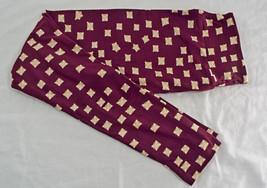 Womens LuLaRoe OS One Size Leggings Dark Maroon Green Pink  NEW image 2