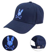 Psycho Bunny Men's Strapback Tie Dye Pattern Rubber Logo Navy Baseball Cap Hat