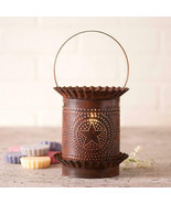 Primitive Wax Warmer In Regular Punched Star Rustic Tin Shade With Thin Handle - $45.39