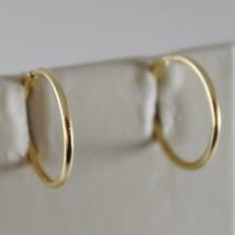 18K YELLOW GOLD EARRINGS MINI CIRCLE HOOP 13 MM 0.51 IN DIAMETER MADE IN ITALY image 1