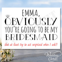 Personalised Will you be my Bridesmaid Flower Girl Maid of Honour Card W... - $2.41