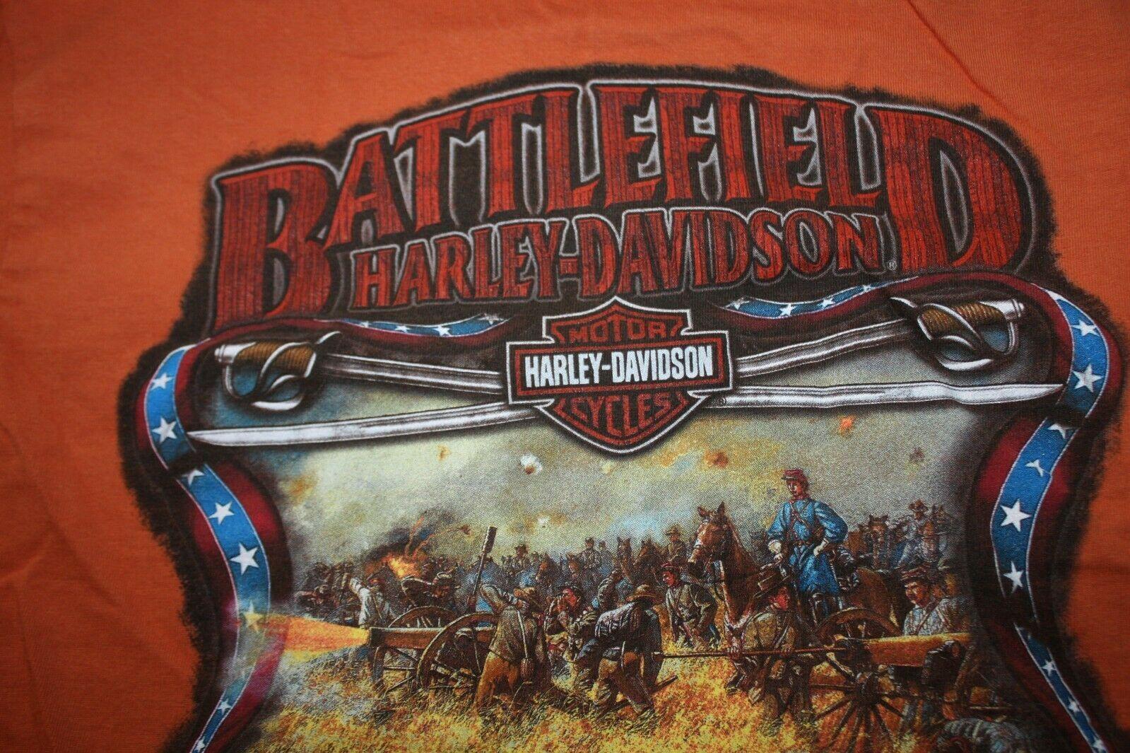 Harley Davidson Mens T-Shirt Orange Battlefield Harley Gettysburgh PA Size Small image 5
