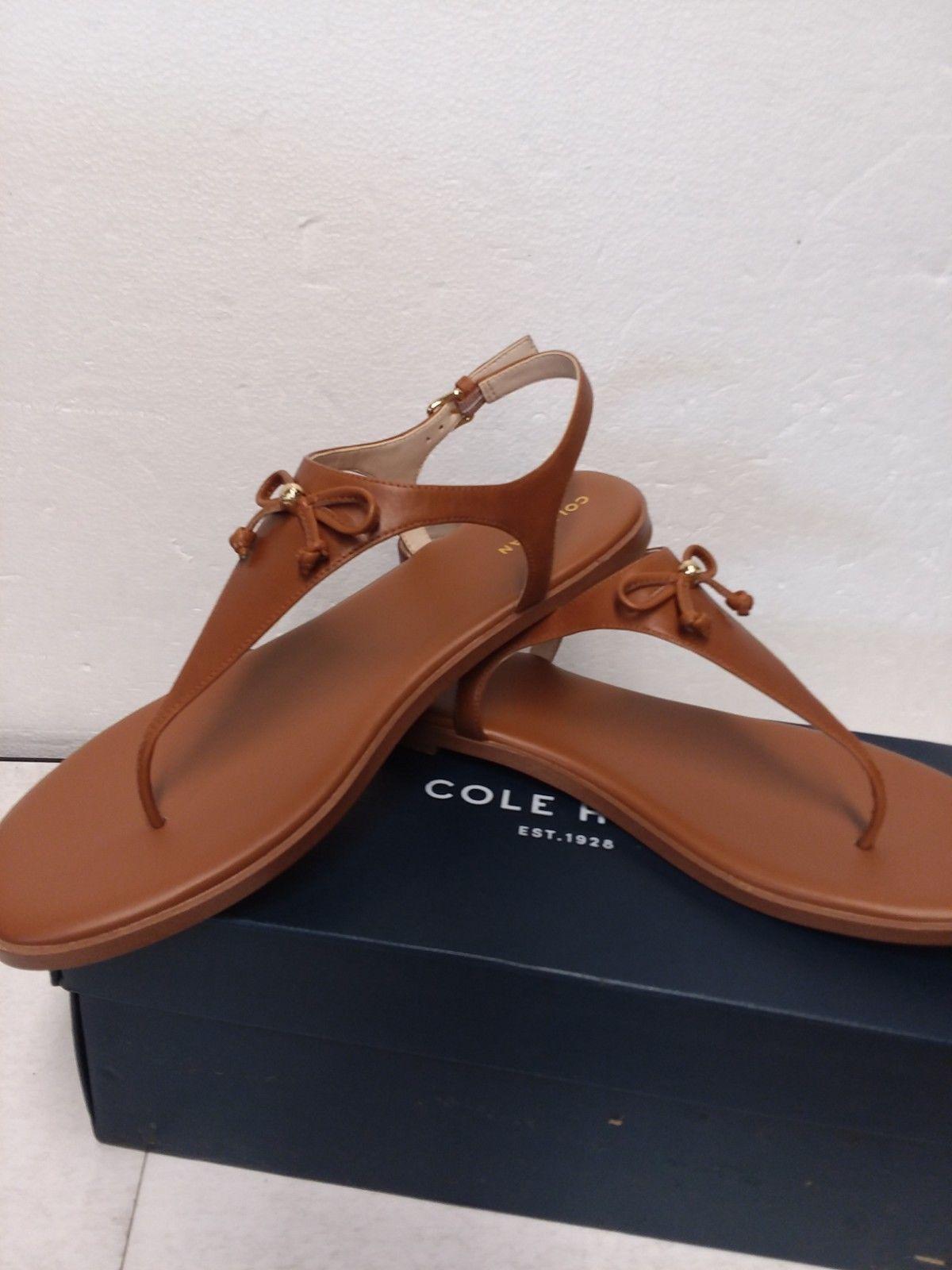 Cole Haan Women's FINDRA Leather Thong Sandal II Flat - Tan 10 B