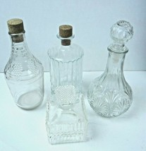 Vintage 60s Glass Decanters Lot of 4 Wine Liquor Bar Whiskey Scotch Mid ... - $36.45