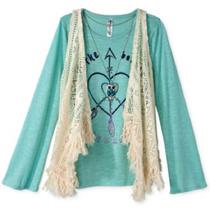 Beautees Girls' 3-Piece Crochet Vest, Top & Necklace Set, Size L, MSRP $38 - $14.84