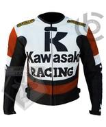 KAWASAKI 1 RACING ORANGE MOTORBIKE MOTORCYCLE COWHIDE LEATHER RACING JACKET - $184.99
