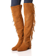 New $578 Womens 8.5 Frye Suede Leather Boots OTK Tall Knee Fringe Ray Ca... - $360.00