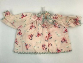 Vintage Doll Clothes Pajama Top Flannel Clown Print Pink Ruffle Shirt Cl... - $9.89
