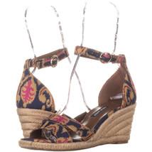 Nine West Jeranna Wedge Heel Espadrilles Sandals 136, Blue Multi, 6.5 US - $23.03